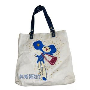 Coach Poppy Chan Blueberry Glitter Canvas Tote Bag